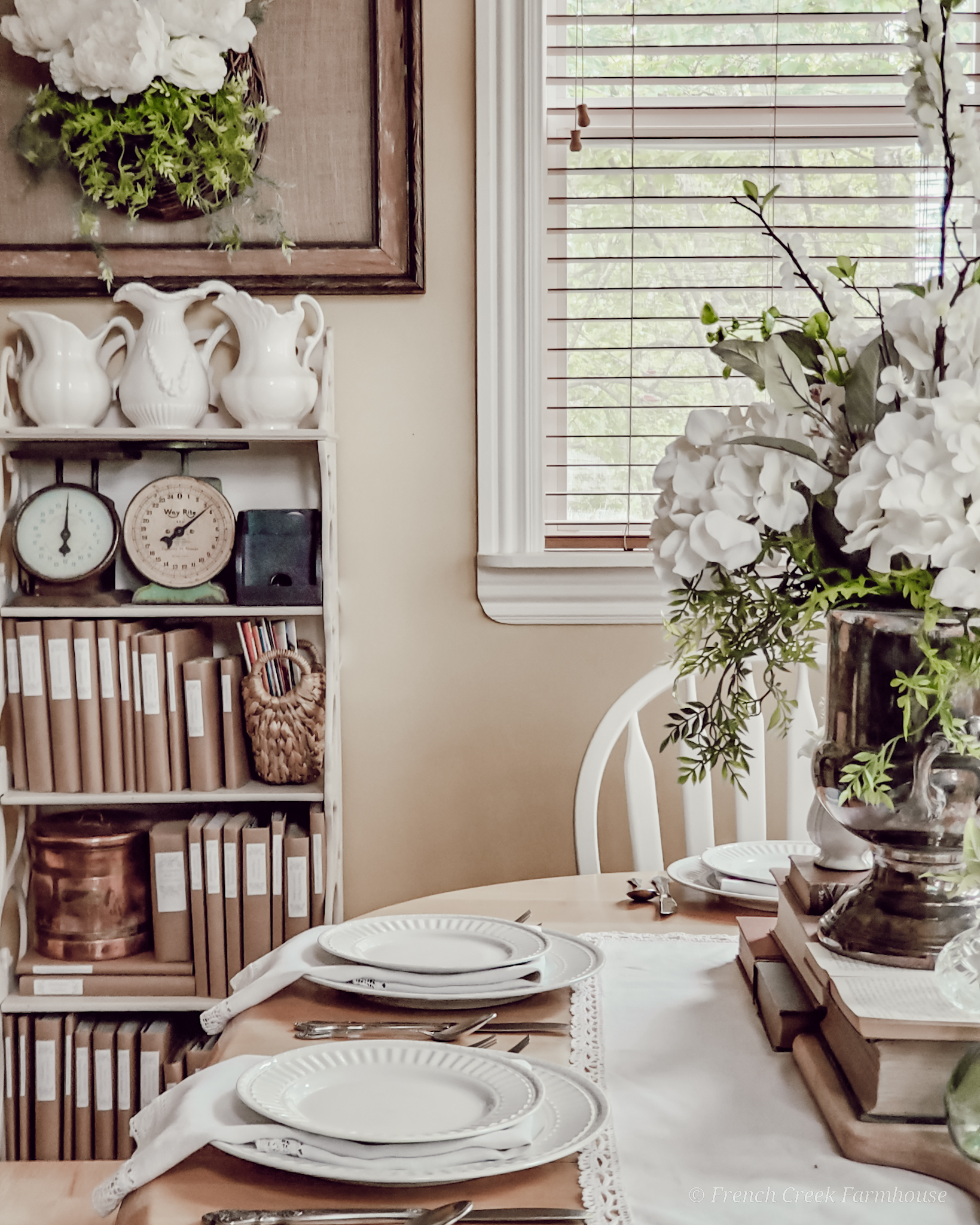 Beautiful vintage touches in a farmhouse dining room