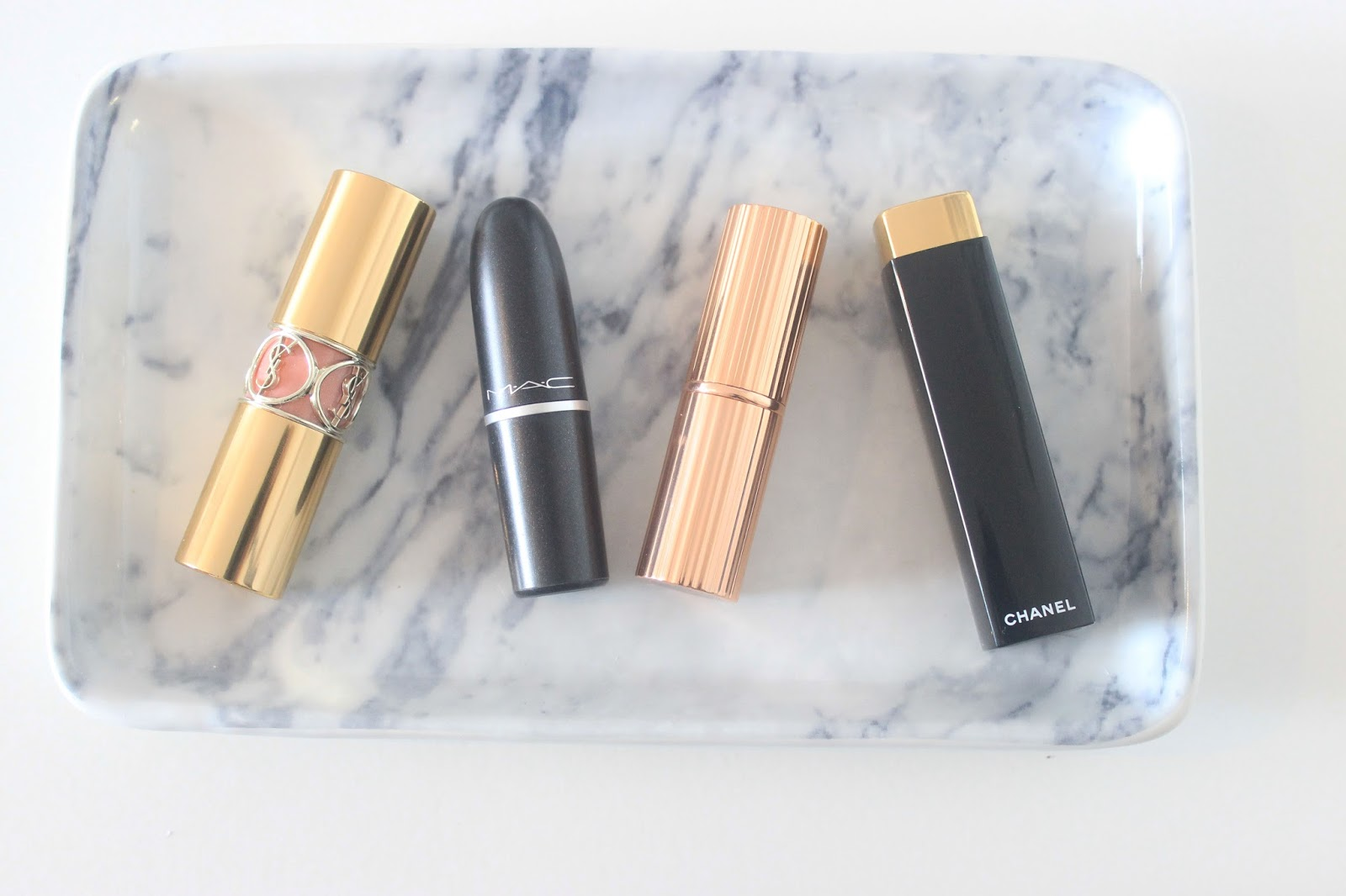 YSL Nude In Private, Charlotte Tilbury Bond Girl, MAC Brave, Chanel Pirate