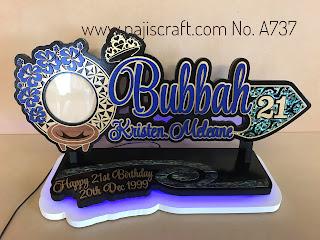 TONGA MAORI 21ST KEY 70CM - BLUE LED & PAUA SHELL