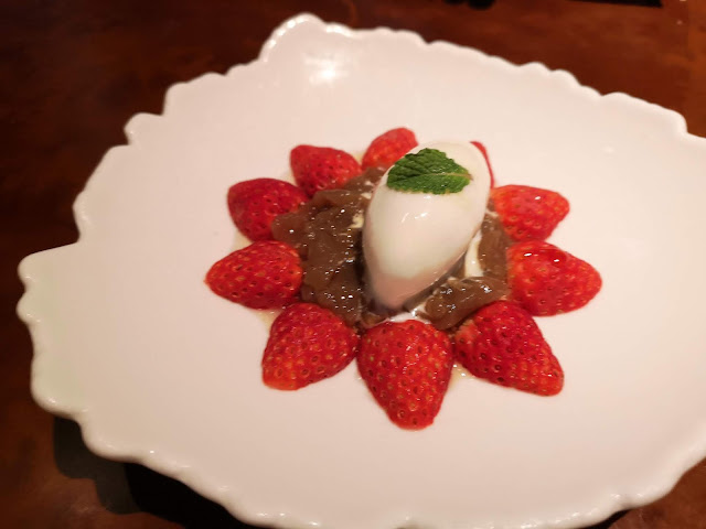 Chitose Strawberries, Hojicha Jelly, Elderflower Yogurt Sherbet, Cinnamon Crumbs