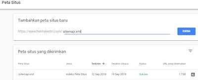 Cara mengirim peta situs ke Google