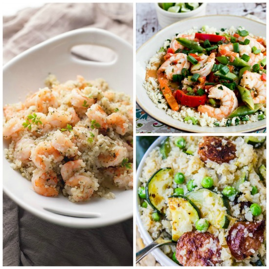 20 Amazing Low-Carb Dinners with Cauliflower Rice found on KalynsKitchen.com
