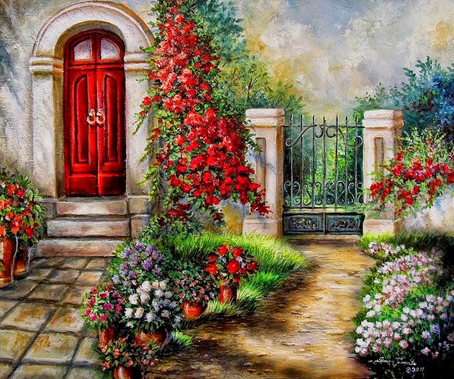 Cuadros modernos pinturas y dibujos fachadas y puertas for Puertas de campo antiguas