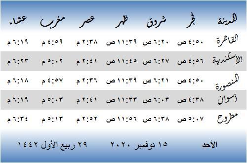 مواقيت الصلاة في مصر اليوم الأحد 15 نوفمبر 2020