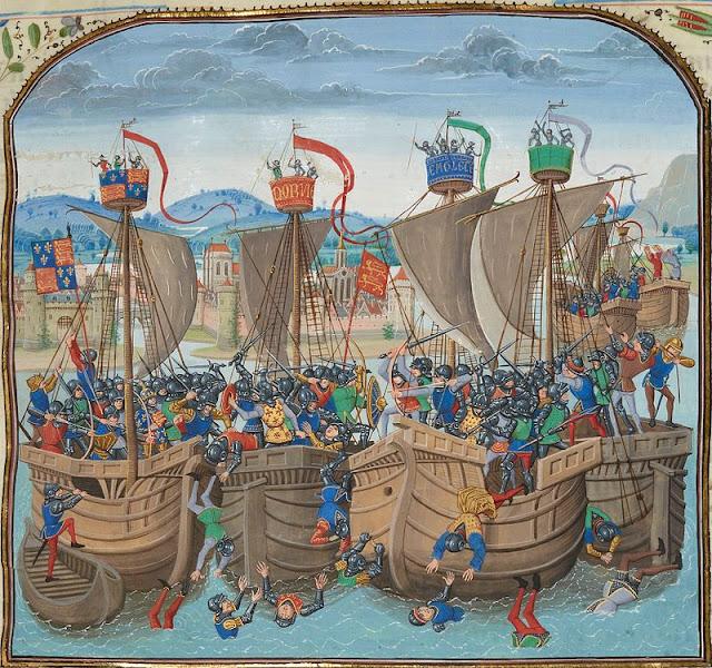 Représentation d'une bataille navale médiévale, l'écluse