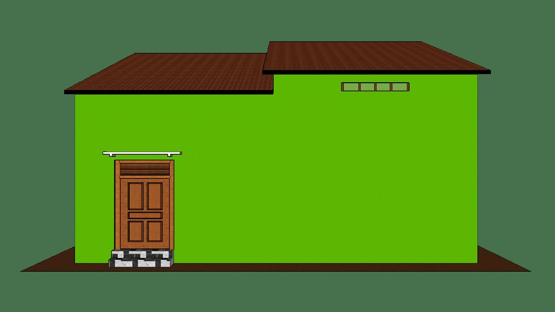 Desain rumah sederhana 1 lantai tampak belakang