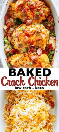 Baked Crack Chicken Breasts, also referred to as Ranch Chicken with Bacon, is a delicious and creamy dish loaded with cheese and bacon.