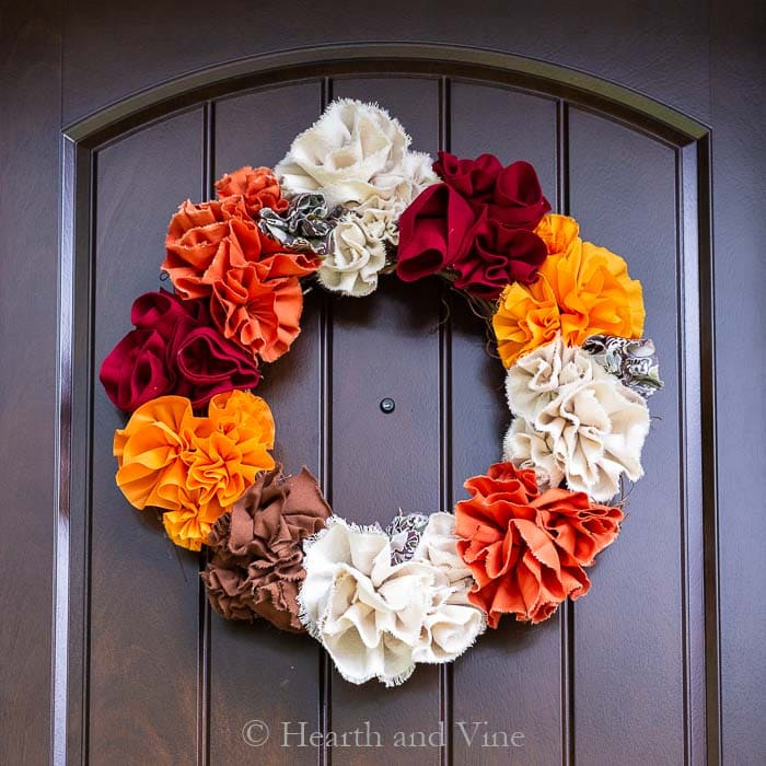 Fabric pouf fall wreath