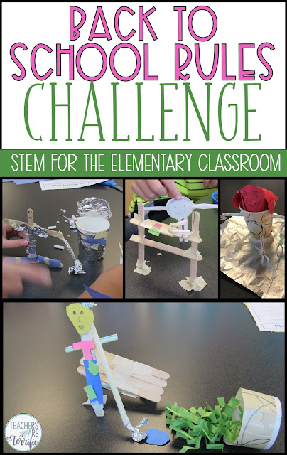 Fabulous resources and ideas to get you started back to school! This blog post will give you details about a Back to School STEM Challenge FREEBIE! #teachersareterrific