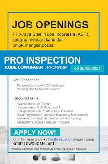 Lowongan Production Inspection PT Araya Steel Tube Indonesia (ASTI)