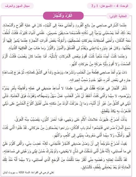 نص الحكاية 7 : القرد والنجار المستوى الثالث مرجع المفيد في اللغة العربية المنهاج الجديد