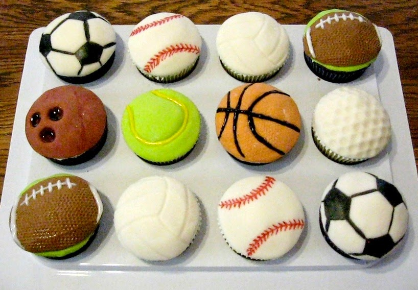 Sports and Volleyball cupcakes from Cake Central.