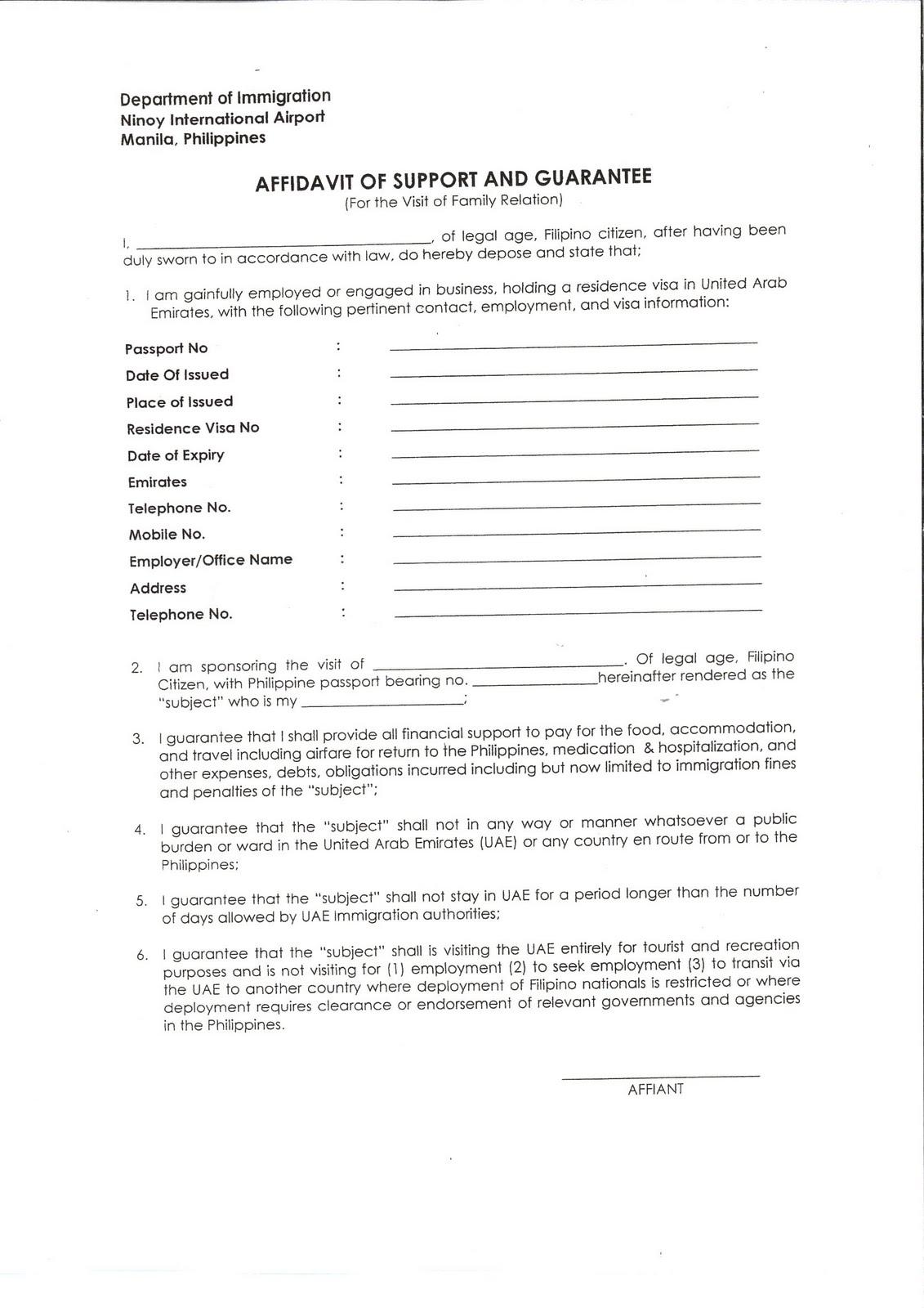 UAE Philippine Consulate Affidavit of Support Sandy Adventures