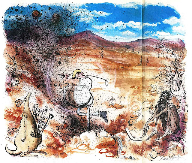 a Ronald Searle cartoon about golfing in the Australian outback