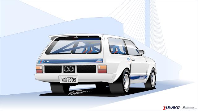 """Imagem mostrando o desenho da traseira da Ford Belina II """"650 CLN"""""""