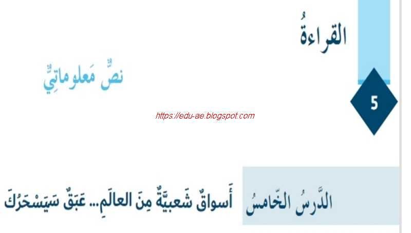 حل درس أسواق شعبية من العالم مادة اللغة العربية للصف السابع الفصل الاول2020- تعليم الامارات