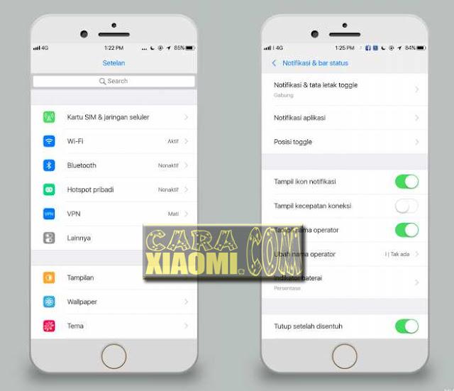 Icon Jam menjadi di tengah pada Tema iOS, mengganti tampilan Operator dengan custom unicode