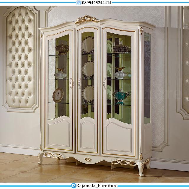 New Lemari Hias Kaca Ukiran Mewah Luxury Carving Jepara Asli RM-0425