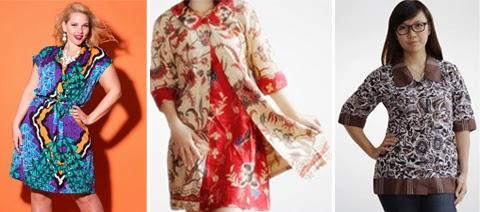 baju atasan batik kombinasi orang gemuk