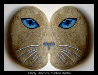 painted rocks, kitty, cat, eyes, Cindy Thomas