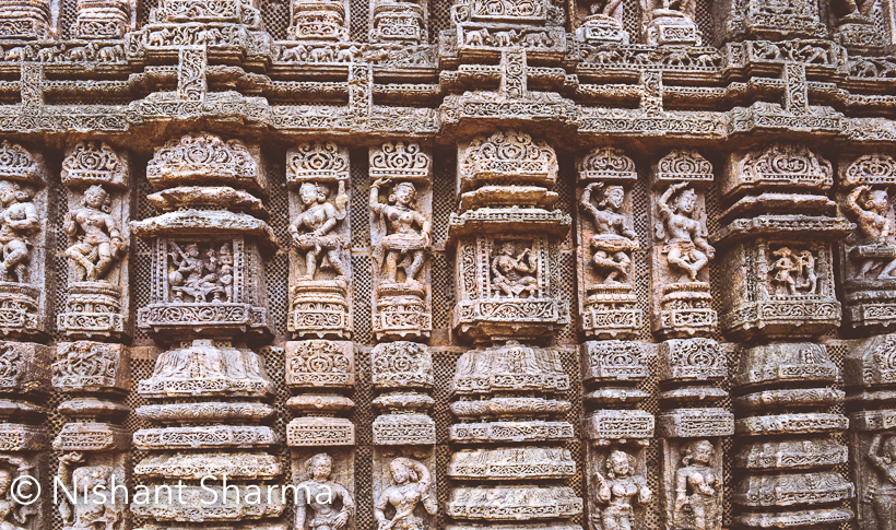 While in Bhubaneshwar ( Odisha , we planned to drive to Konark Sun Temple and witness it's grandness & heritage.Temple has beautifully carved stone wheels, pillars and walls. A lot of portions of temple are in ruins, although remained part is being maintained. Some work was happening when we visited the temple this month (july'2016).Sun Temple in Konark is 65 kilometers from Bhubaneshwar and 35 km from Puri.ASI maintains the temple and it's a UNESCO World Heritage Site. Konark Sun temple is also featured in the list of 7 wonders in India, along with Meenakshi Amman Temple of Madurai, Dholavira of Gujarat, Red Fort of Delhi, Jaisalmer Fort of Rajasthan, Nalanda of Bihar and Khajuraho of MP.The name Konark comes from Sanskrit words - Kona and Ark. Europian sailors had 2 important temples in this part of India - Konark Sun Temple and Jaganath Temple in Puri, which are called Black Pagoda and White Padoga respectively.Konark Sun Temple has used iron beams for it's structure. It was made to look like Surya-Rath (Chariot of Sun God). There are 12 carved stone wheels which are 3 meters wide and is pulled by a set of seven horses, which you see on entry gate of the temple. It followed popular Kalinga Architecture.Maintenance of Konark Sun Temple was in progress and it made us feel good about the care ASI is taking of these beautiful heritage buildings in India. Although it made us worry about the way these structures are restored. Plain stones without any carving are being added to give support to the structure. It's understandable that same carving might be difficult to achieve but some creative stuff can be done. More than structure, the craved stones are decaying with time and wondering if there is a good way to avoid it. I am sure ASI must thinking about all these things.Konark Sun Temple is one of the most visited tourist places in Odisha and it's considered as one of the most popular places to visit around Bubaneshwar. We didn't want to miss and happy that it was a nice experience to be there. Although the weather was not suitable, but we had fun.There are some interesting facts about the architecture of Konark Sun Temple. Original temple had one part of the compound, which was 70 mgr high. Now the highest structure of the Sun Temple is 30 meters high, which is essentially the audience hall along with smaller structures like Dance hall and Dining hall.Orissa Tourism website  lists few interesting details around history behind this temple.Surrounding of the Konark Sun Temple is pretty green and the weather made it greener for us.We had great time roaming around this beautiful campus of Konark Sun Temple, which has lot to surprise you and make you think how it was built many centuries ago. Here we tried to click family selfie with our DSLR  and it came out well :)These are the Ashvas (horses) of Surya Rath. Somehow the faces are different and I am not sure why. There must be some reason behind these shapes.