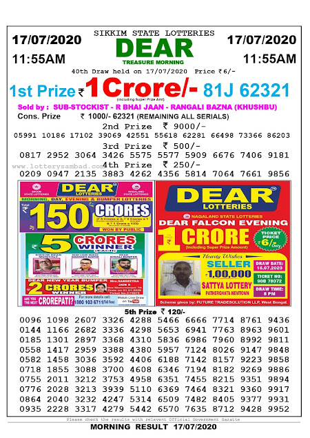 Sikkim State Lottery Sambad 17-07-2020 Today Result 11.55 AM