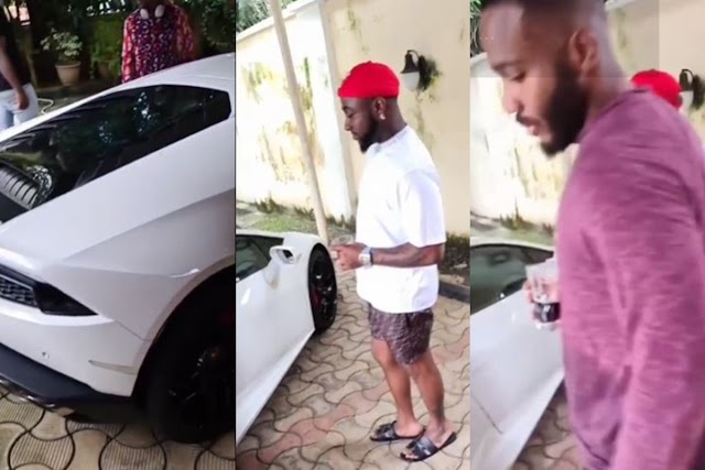 Davido And Kiddwaya Left Speechless After A Young Man Drove With A Brand New Lamborghini Aventador (Video)