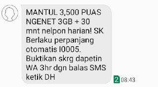 Kuota Internet 3GB+Nelpon 30 Menit hanya Rp. 3500 Terbaru