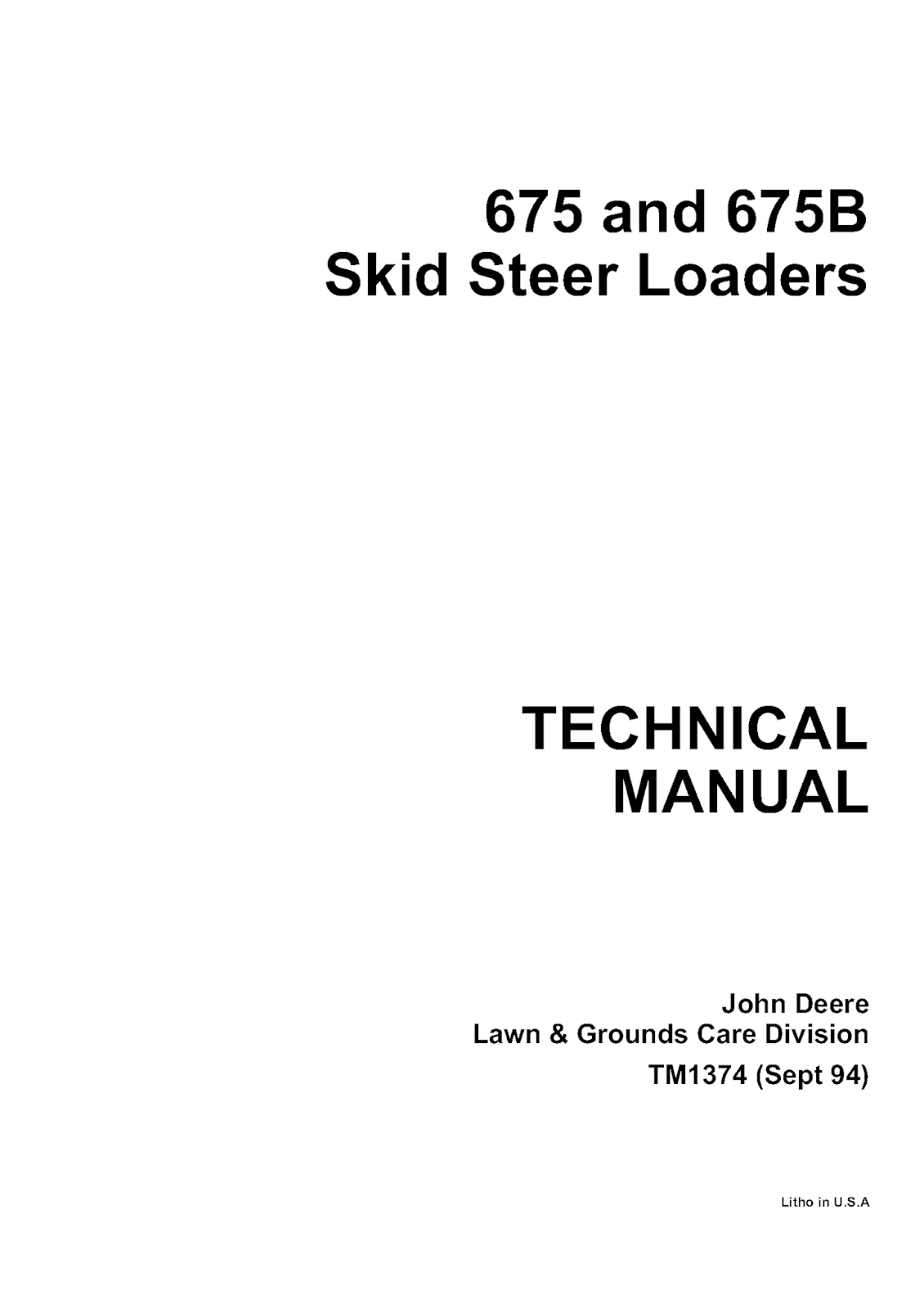 John Deere 675B Skid Steer Loader Manual