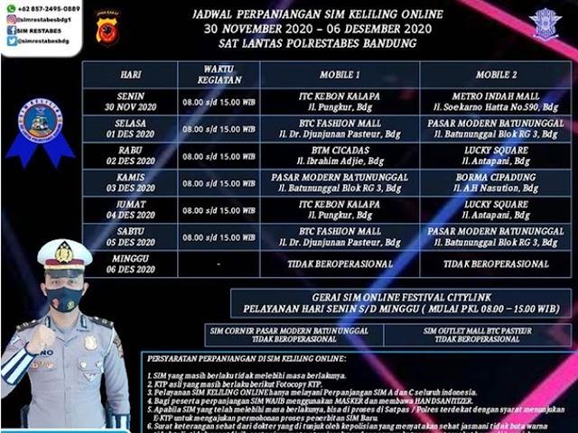 Jadwal Lengkap Layanan SIM Keliling Polrestabes Bandung Bulan Desember 2020