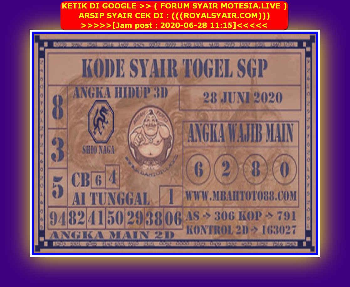 Kode syair Singapore Minggu 28 Juni 2020 140