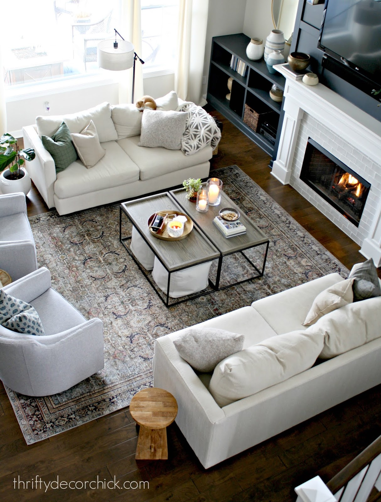 Symmetrical family room layout
