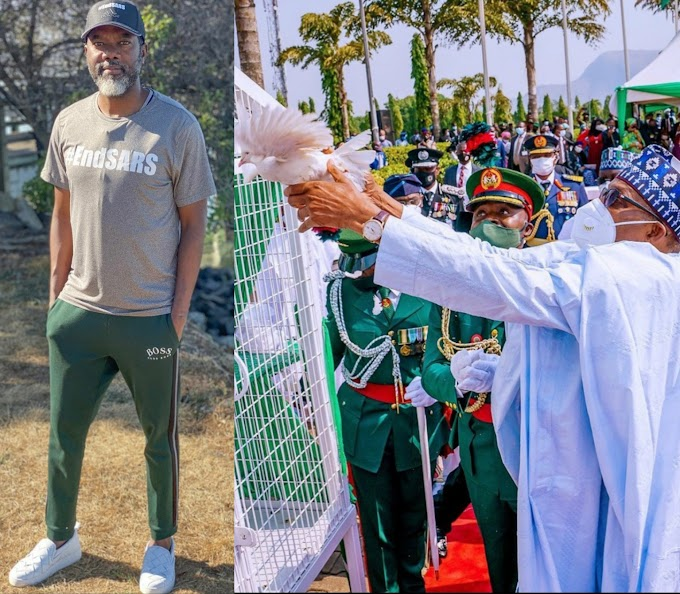 """You killed End SARS protesters and expect doves of peace to fly?"" Reno Omokri reacts as pigeons refused to fly off at the 2021 Armed Forces Remembrance Day"