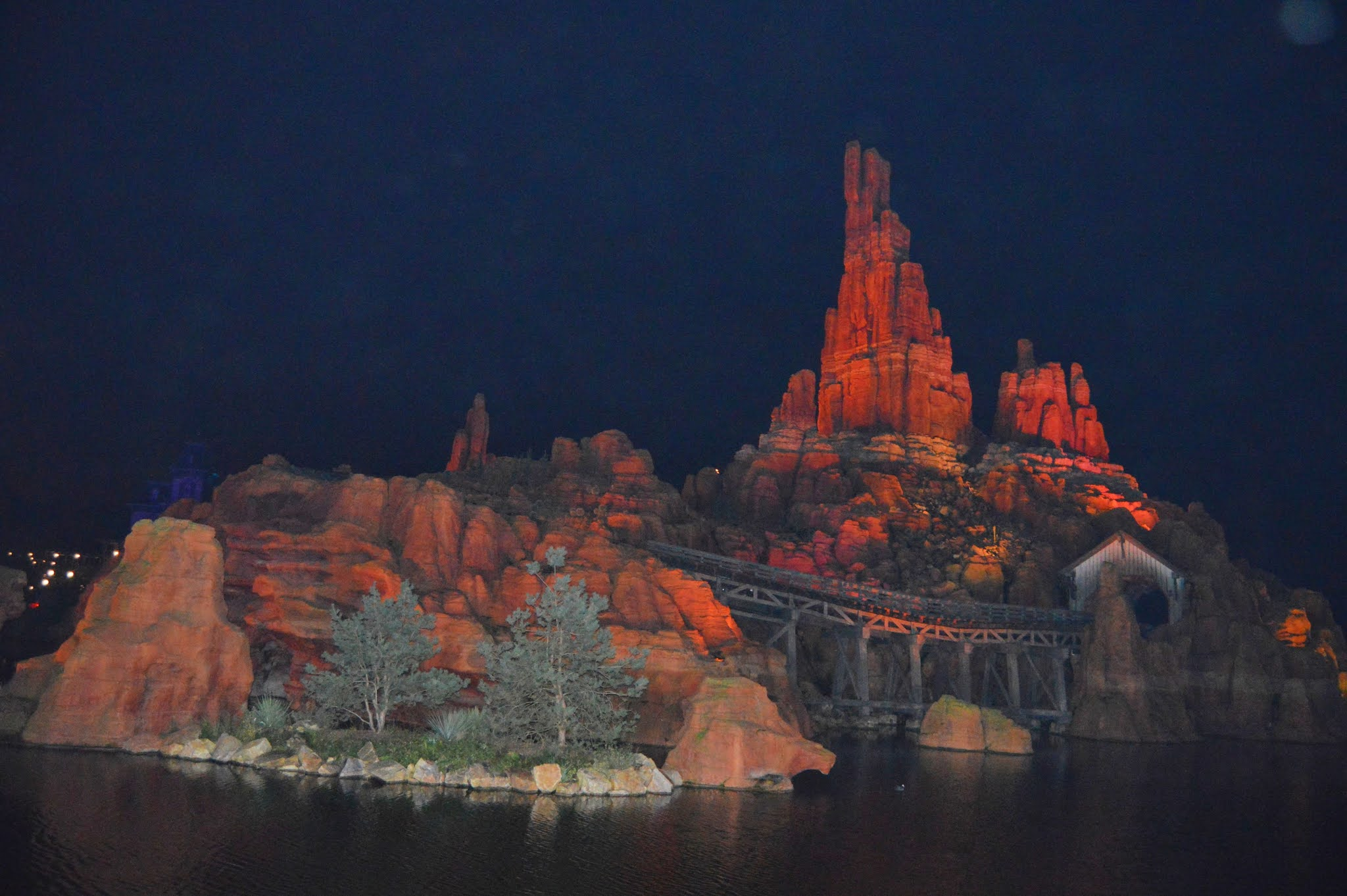 big thunder mountain at night time