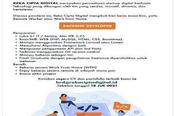 Lowongan Kerja Back End Developer Reka Cipta Digital Bandung