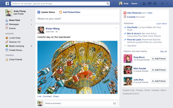 Evolusi Desain Facebook tahun 2015