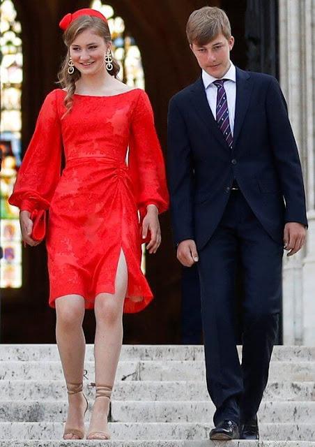 Queen Mathilde, Crown Princess Elisabeth, Prince Gabriel, Prince Emmanuel Princess Eleonore and Princess Delphine