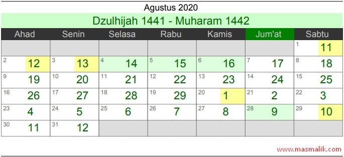 Kalender Islam Tahun 2020, Agustus
