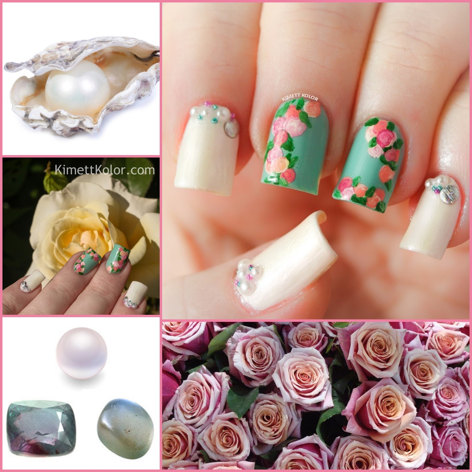 June Birthstones and Roses Nail Art by KimettKolor