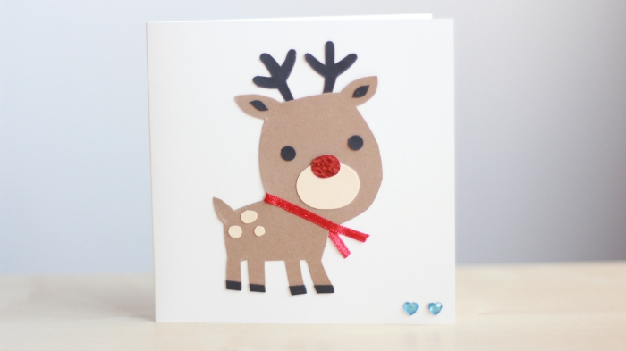 Easy DIY Reindeer Christmas Card Cricut Cute Simple