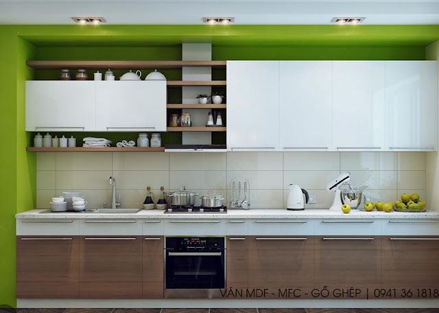 Màu xanh lad cây tươi trẻ cho không gian bếp