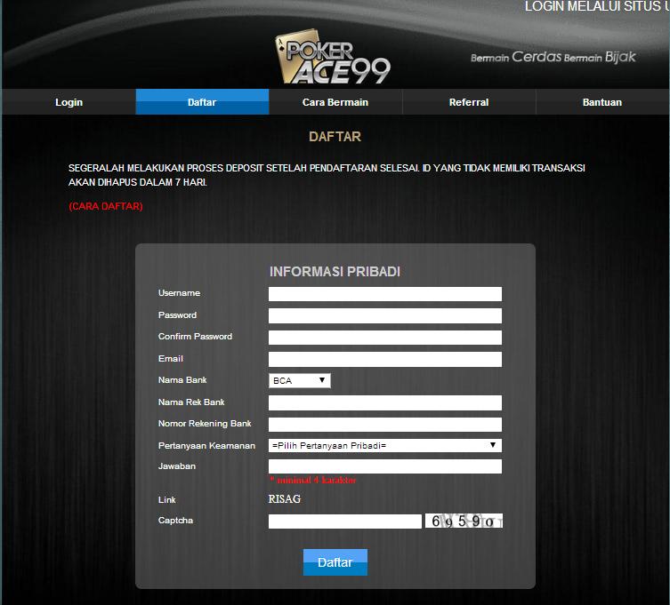 Cara Mudah Daftar Poker Ace99 Situs Terpercaya Dengan Jackpot Terbesar Cara Mudah Daftar Poker Ace99 Situs Terpercaya Dengan Jackpot Terbesar