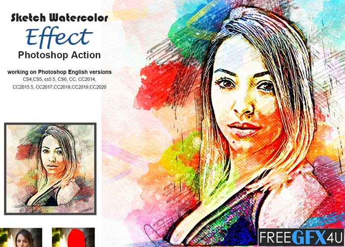 Sketch Watercolor Effect PS Action