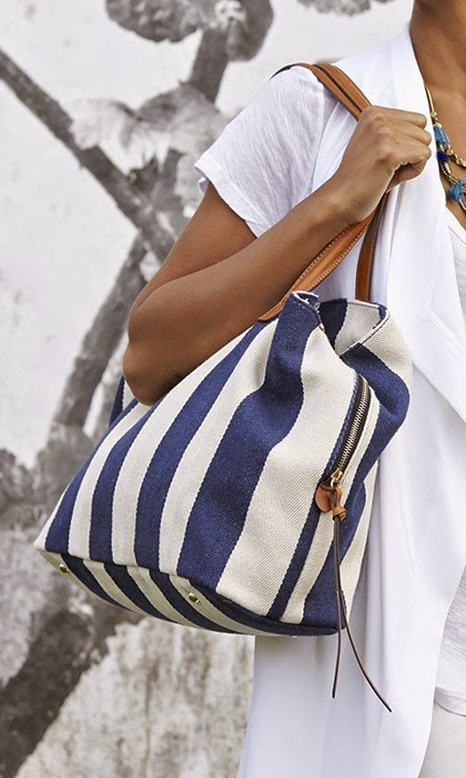 Over-sized navy & cream striped tote bag