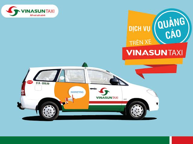 Dán decal quảng cáo trên xe Taxi Vinasun