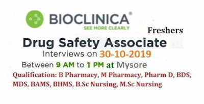 Bioclinica - Walk-in interview for Pharmacy / Nursing / Dental Freshers on 30th October, 2019