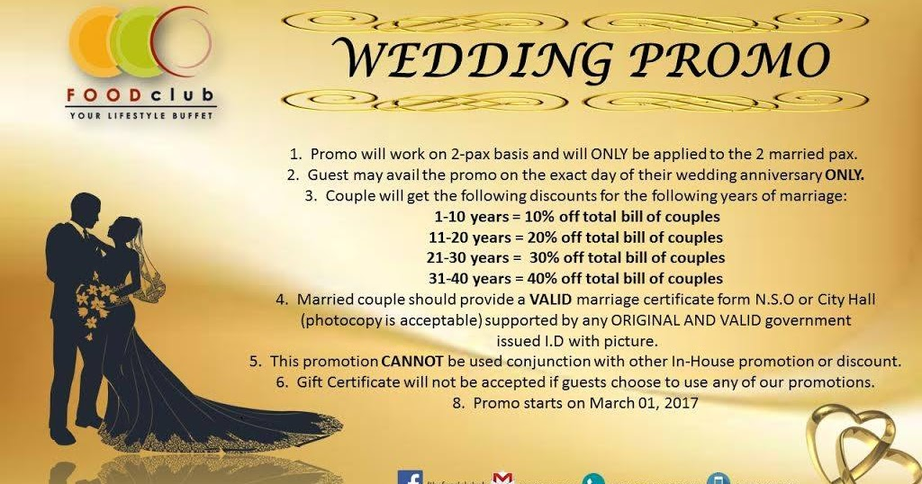Wedding Anniversary Ideas Manila : Manila Shopper: The Food Club Wedding Anniversary Promo