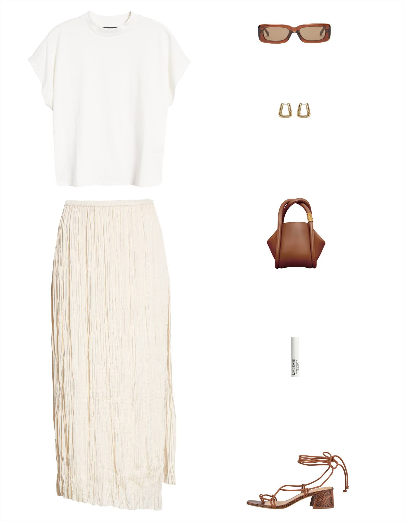 A Stylish Everyday Outfit Idea for Spring and Summer 2021 —$25 white top, rectangular sunglasses, Boyy bag, Lord Jones CBD lip balm, Vince pleated skirt, lace-up sandals