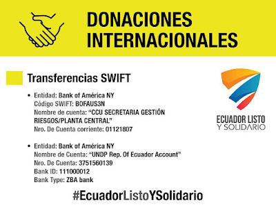Donaciones de dinero para Ecuador