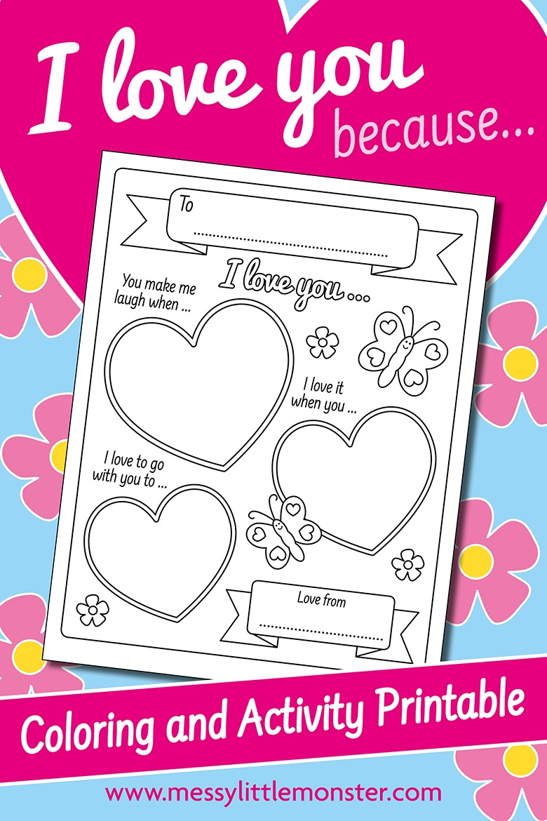 I love you because printable worksheet for kids. 3 reasons I love you!